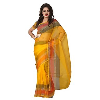 Florence Yellow Tissue Printed Daily Wear Saree (Design 2)
