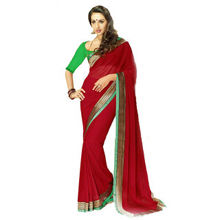 Aaina Maroon Chiffon Plain Saree Without Blouse