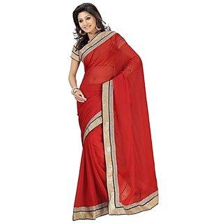 Aaina Red Chiffon Plain Saree Without Blouse