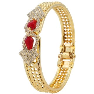 The99Jewel by JewelMaze Zinc Alloy Maroon Austrian Stone Gold Plated Openable Kada-AAA1191