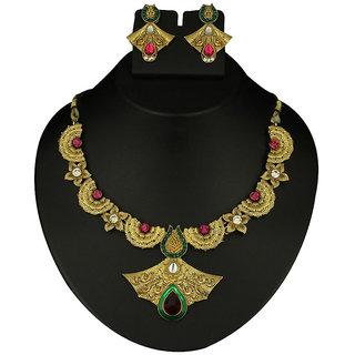 Kriaa by JewelMaze Gold Plated Meenakari Green And Pink Austrian Stone Zinc Alloy Necklace Set-AAA0540