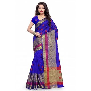 Satyam Weaves Blue Cotton Self Design Saree With Blouse