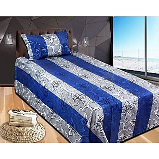 Stop N Shop Blue Poly Cotton Single Bed Sheet