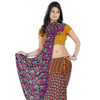 Triveni Multicolor Georgette Printed Saree With Blouse