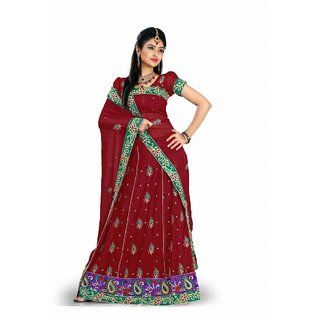 Triveni Multicolor Faux Georgette Embroidered Lehenga Saree With Blouse