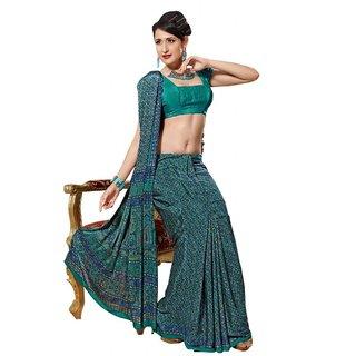 Triveni Green Crepe Printed Saree With Blouse