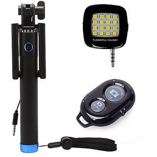 De-Techinn Combo of Locust Aux Selfie Stick + External 16 LED Selfie Night Flash Light + Selfie Remote Control Shutter