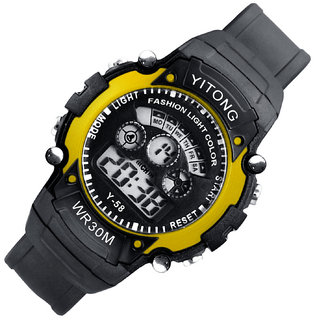 Mens Watch Quartz Digital Watch Men Sports Watches LED Digital Watch Yellow by japan