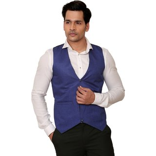 Kandy Solid Party Wear Blue Waist Coat