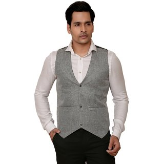 Kandy Solid Party Wear Grey Waistcoat