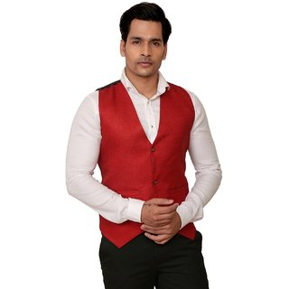 Kandy Solid Party Wear Red Waistcoat