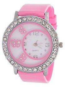 i DIVAS   Glory Pink Diamond Fancy Letest Butterfly Print Collection Analog Watch - For Women BY JAPAN STORE