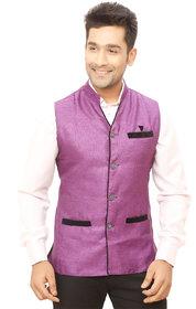 Kandy Purple Regular Fit Nehru Jacket For Men