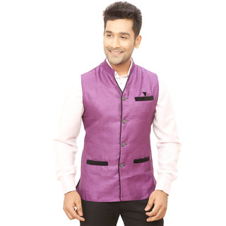 Kandy Purple Regular Fit Nehru Jacket For Men