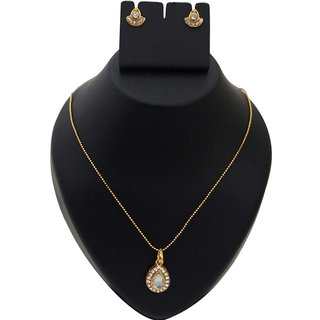 The99Jewel by JewelMaze White Austrian Stone Gold Plated Zinc Alloy Pendant Set-AAA0576