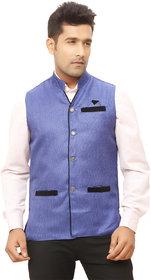 Kandy Blue Regular Fit Nehru Jacket For Men's