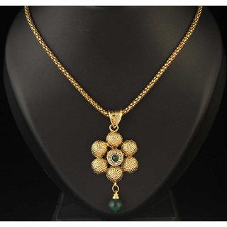 Kriaa by JewelMaze Green Austrian Stone Gold Plated Zinc Alloy Pendant Set-AAA0593