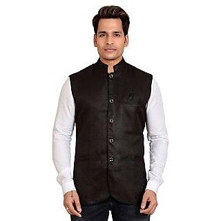 Kandy Black Regular Fit Nehru Jacket For Men