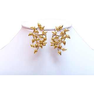 The Divine Vault Golden Earrings With Stylish Leaf Design Tdv 15