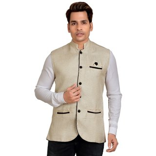 Kandy Beige Regular Fit Nehru Jacket For Men