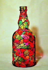 Hand Painted Bottle Mosaic