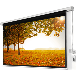ELCOR Motorized Projection screens 4ft x 6ft with 84 Diagonal In HD, 3D  4K Technology (Imported matte white fabric)