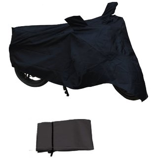 Flying On Wheels Bike Body Cover With Mirror Pocket With Mirror Pocket For TVS Scooty Pep + - Black Colour