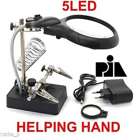 Helping Hand Clip LED Magnifying Soldering Iron Stand 2.5X 7.5X 10X Magnifier -PIA INTERNATIONAL