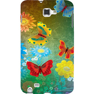 Ifasho Designer Back Case Cover For Samsung Galaxy Note 2 :: Samsung Galaxy Note Ii N7100 (Butterfly Diferent Colors Multi Colour)