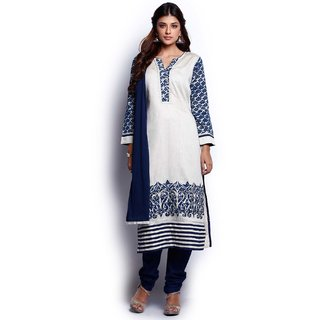 Soch Beige and Indigo Salwar Suit with Dupatta