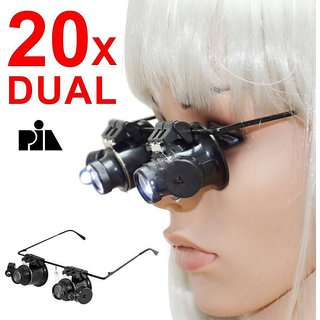 DUAL GLASS WITH 2LED 20X Magnifying Glass  (Black)  -PIA INTERNATIONAL