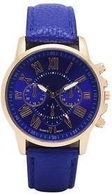 Zillion Luxury Navy Blue Leather Strap Analog Watch For Women, Girls