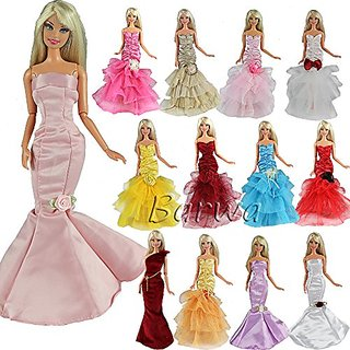 Barwa 3 Pcs Night Looks Princess Evening Wedding Party Dress Clothes Gown Outfit For Barbie Doll