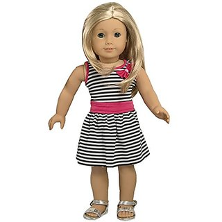 ebuddy Zebra Strip Summer Party Dress Clothes Fits 18 Inch Doll
