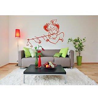 Dream On Walls Sticker  Lord Krishna Red Wall Sticker