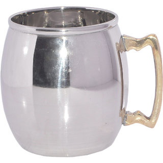 Stainless Steel Moscow Mule Mug with Brass Handle