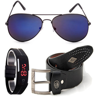 Magjons Black Leather Belt And Blue Mirror Aviator Sunglasses With Digital Slim Watch Combo MJBS1111