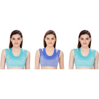 Bahucharaji Creation Blue Cotton Lycra Sports Bras