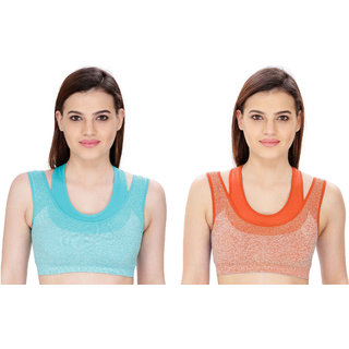 Bahucharaji Creation Orange Cotton Lycra Sports Bras