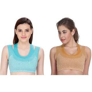 Bahucharaji Creation Beige Cotton Lycra Sports Bras