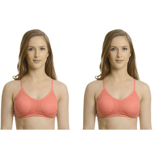 Bahucharaji Creation Pink Cotton Lycra Sports Bras
