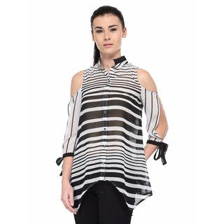 ac21f4f1c5372 Buy Tunic Nation Women s Black White Polyester Cold-Shoulder Regular Top  Online - Get 53% Off