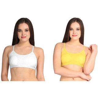 Bahucharaji Creation Yellow Cotton Lycra Sports Bras