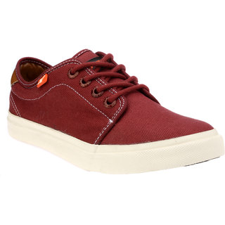 Sparx Men's Maroon Lace-up Sneakers