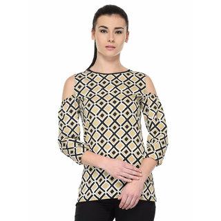 Tunic Nation Women's beige/Black Polyester Cold-Shoulder Regular Top