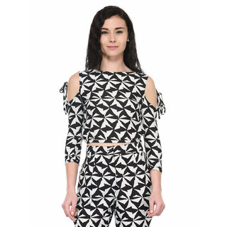 Tunic Nation Women's Black/White Polyester Cold-Shoulder Crop Top