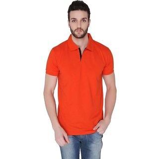 Joke Tees Solid Mens Polo TShirtFire Orange  Half Sleeve