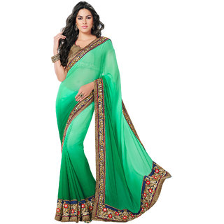 Fabdeal Green Colored chiffon Embroidered Saree RRDSR8004MTV
