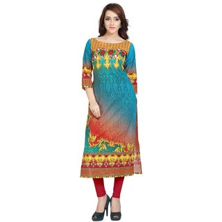 Ziyaa Casual Wear Multicoloured Digital Print Cotton Kurti