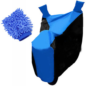 RWT Two Wheeler Cover(Black,Blue) With Microfiber Glove Yamaha Fascino